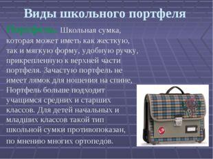 Виды школьного портфеля Портфель. Школьная сумка, которая может иметь как жес