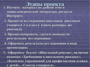 Этапы проекта 1. Изучить материал по данной теме в энциклопедической литерату