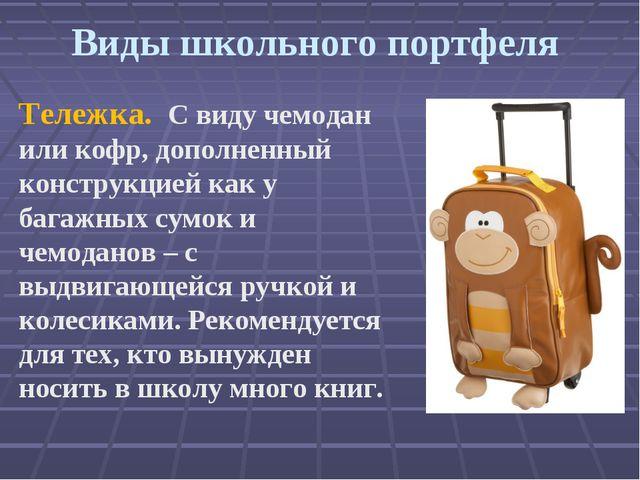 Виды школьного портфеля Тележка. С виду чемодан или кофр, дополненный констр...