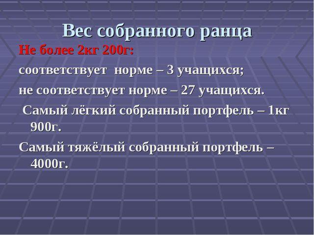 Вес собранного ранца Не более 2кг 200г: соответствует норме – 3 учащихся; не...