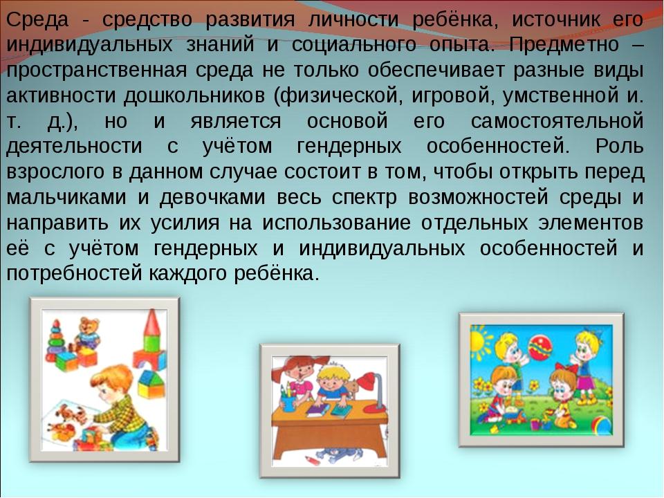Среда - средство развития личности ребёнка, источник его индивидуальных знани...