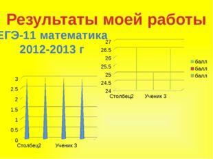 Результаты моей работы ЕГЭ-11 математика 2012-2013 г