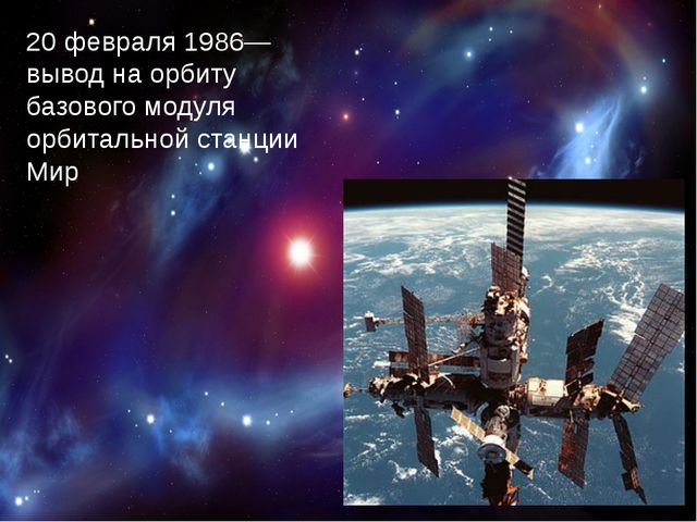 20 февраля1986— вывод на орбиту базового модуля орбитальной станции Мир