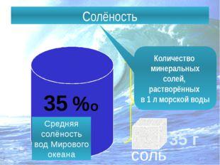 Солёность – количество солей, растворённых в воде. Солёность 1 л 35 г соль Ко