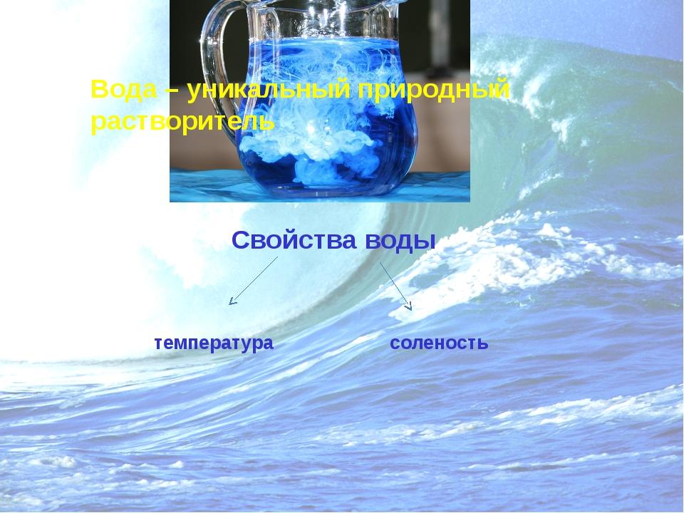Вода – уникальный природный растворитель Свойства воды температура соленость