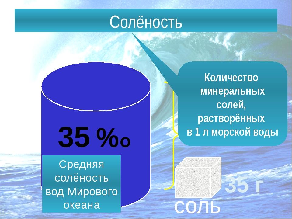 Солёность – количество солей, растворённых в воде. Солёность 1 л 35 г соль Ко...