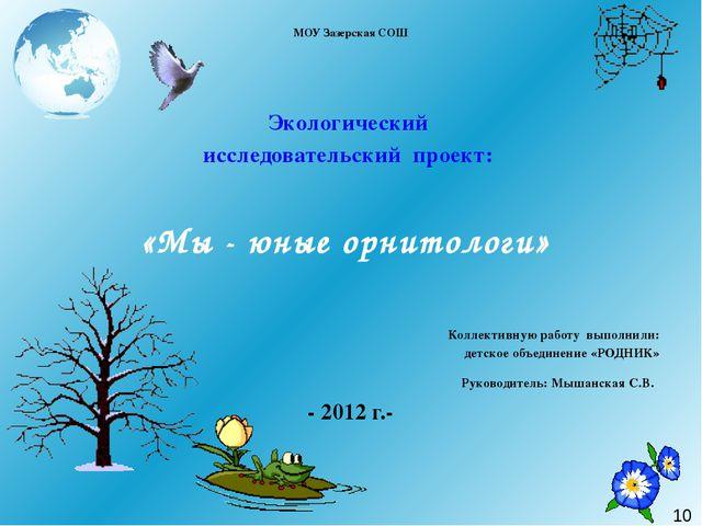 МОУ Зазерская СОШ  Экологический исследовательский проект: «Мы - юные орнит...