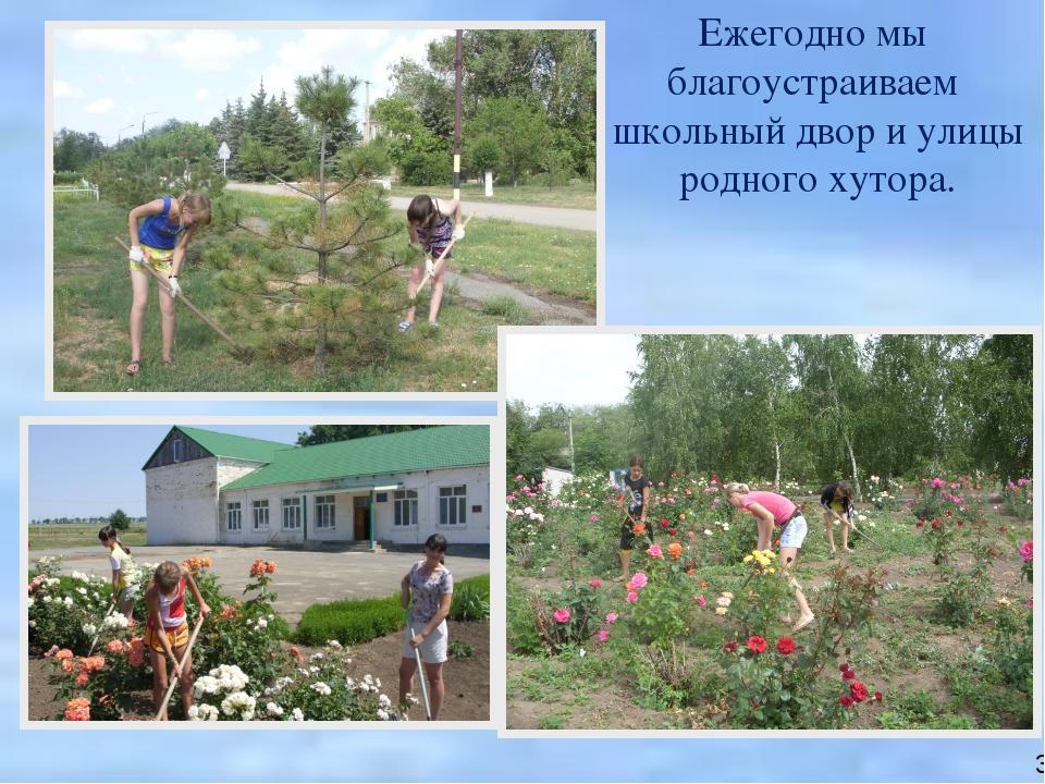 Ежегодно мы благоустраиваем школьный двор и улицы родного хутора. 30