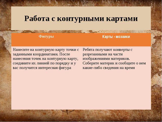 Работа с контурными картами ФигурыКарты - мозаики Нанесите на контурную карт...