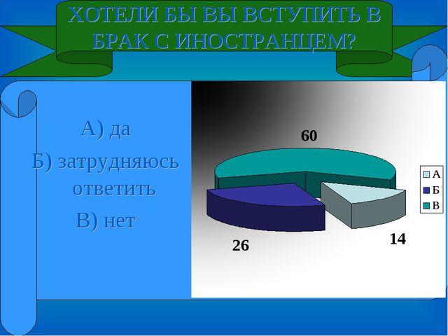 ХОТЕЛИ БЫ ВЫ ВСТУПИТЬ В БРАК С ИНОСТРАНЦЕМ? А) да Б) затрудняюсь ответить В)...