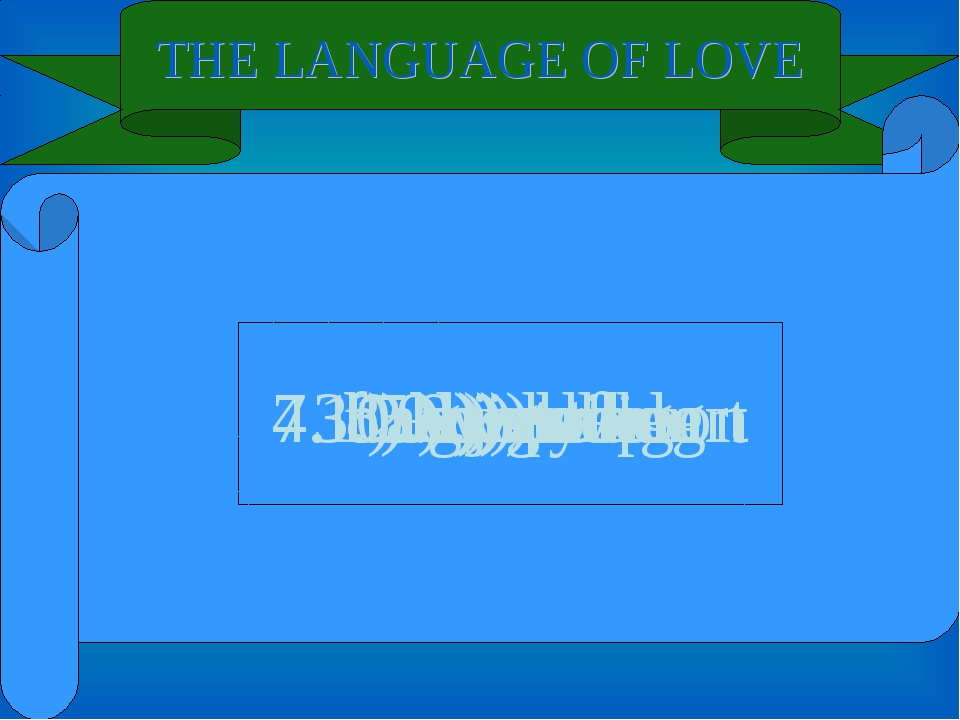 THE LANGUAGE OF LOVE 6. i) of 9. j) too 8. d) spring 10. g) golden 3. a) wedd...