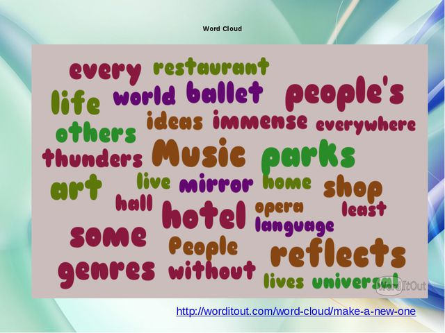 Word Cloud http://worditout.com/word-cloud/make-a-new-one