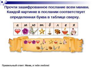 Прочти зашифрованное послание всем мамам. Каждой картинке в послании соответ