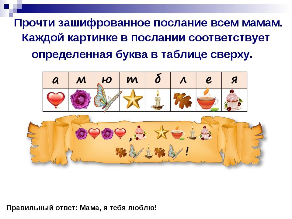 Прочти зашифрованное послание всем мамам. Каждой картинке в послании соответ...
