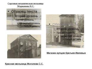 Сортовая механическая мельница Марканова К.С. Красная мельница Жоголева С.С.