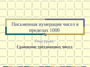 Письменная нумерация чисел в пределах 1000 Тема урока: Сравнение трёхзначных