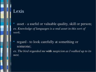 Lexis asset - a useful or valuable quality, skill or person; ex. Knowledge of