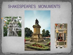 SHAKESPEARE'S MONUMENTS
