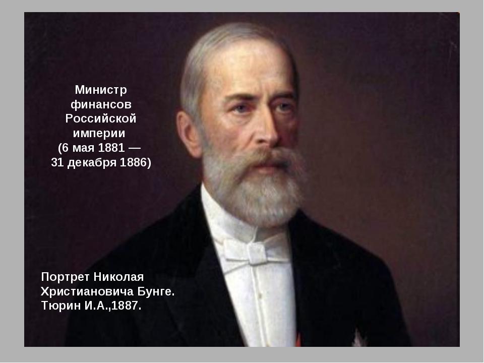 Портрет Николая Христиановича Бунге. Тюрин И.А.,1887. Министр финансов Россий...