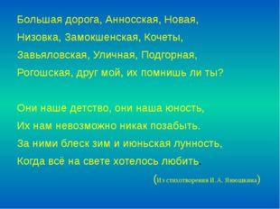 Большая дорога, Анносская, Новая, Низовка, Замокшенская, Кочеты, Завьяловская