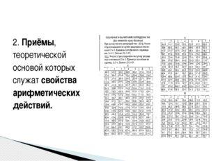2. Приёмы, теоретической основой которых служат свойства арифметических дейст