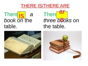 THERE IS/THERE ARE is are Therea bookon the table. Therethreebookson the table.