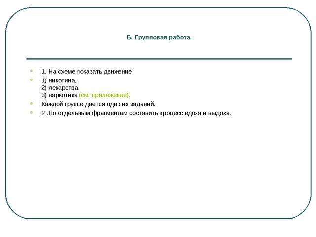 Б. Групповая работа. 1. На схеме показать движение 1) никотина, 2) лекарства,...