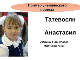 Татевосян Анастасия ученица 4 «В» класса МОУ СОШ № 63 Пример ученического про