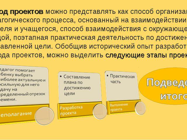 Метод проектов можно представлять как способ организации педагогического проц...