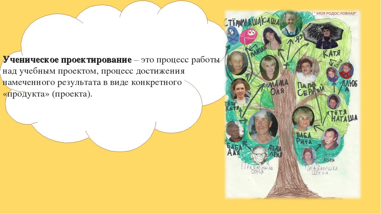 Ученическое проектирование – это процесс работы над учебным проектом, процесс...