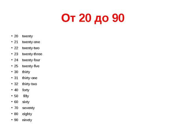 От 20 до 90 20 twenty 21 twenty-one 22 twenty-two 23 twenty-thre...