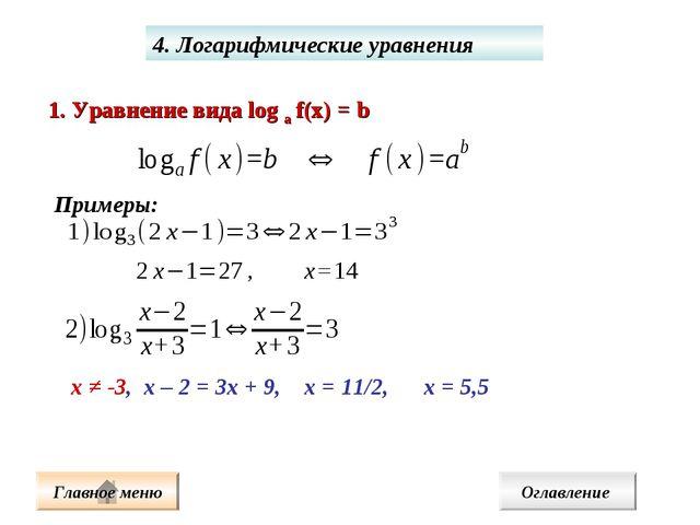4. Логарифмические уравнения 1. Уравнение вида log а f(x) = b Примеры: х ≠ -3...