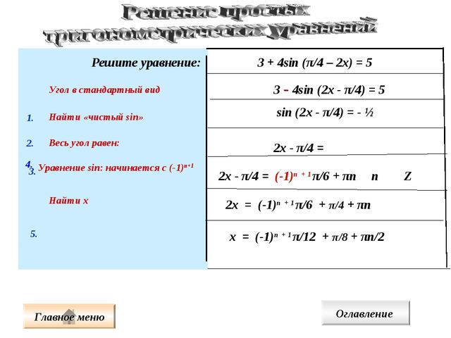 Решите уравнение: 3 + 4sin (π/4 – 2х) = 5 4. Угол в стандартный вид Найти «чи...