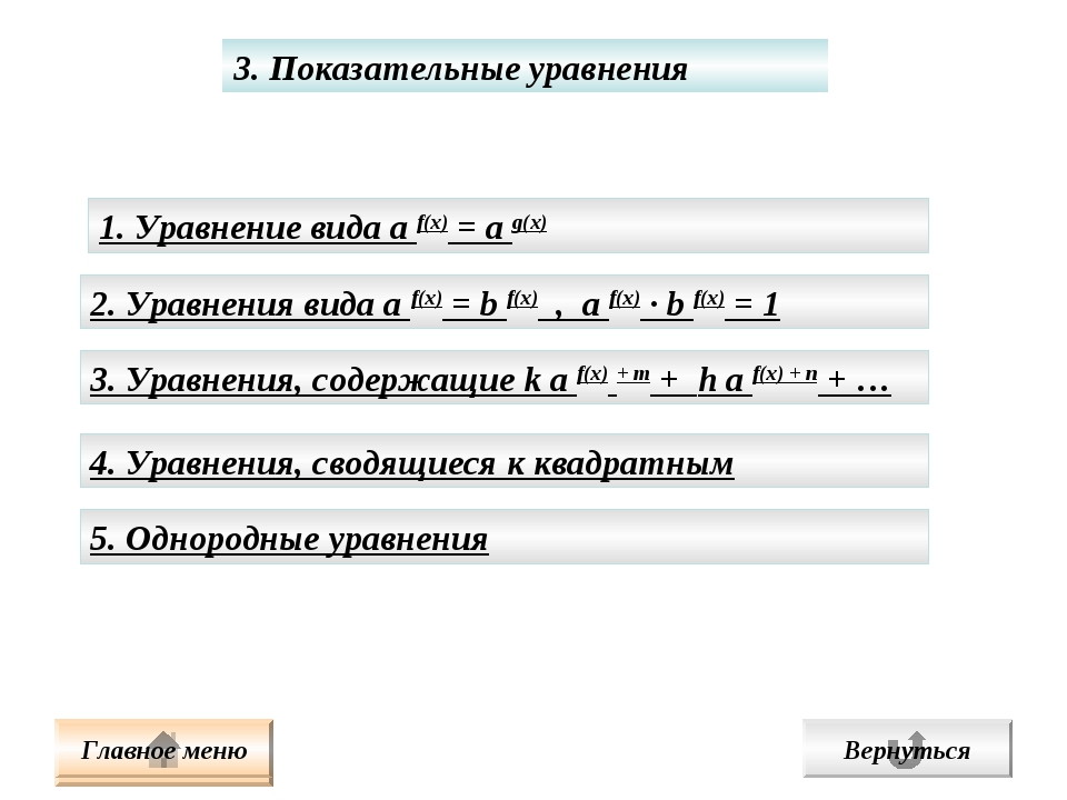 3. Показательные уравнения 1. Уравнение вида а f(x) = а g(x) 2. Уравнения вид...