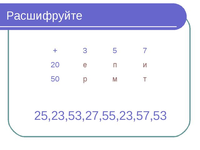 Расшифруйте 25,23,53,27,55,23,57,53 +357 20епи 50рмт