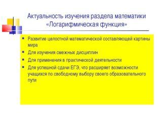 Актуальность изучения раздела математики «Логарифмическая функция» Развитие ц