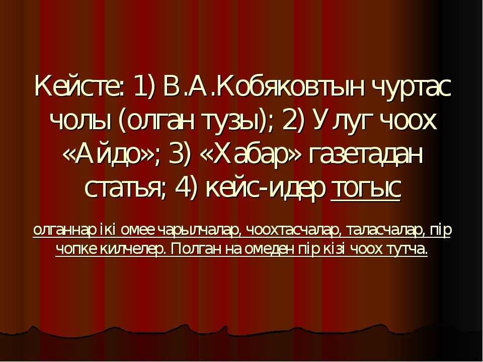 Кейсте: 1) В.А.Кобяковтын чуртас чолы (олган тузы); 2) Улуг чоох «Айдо»; 3) «...