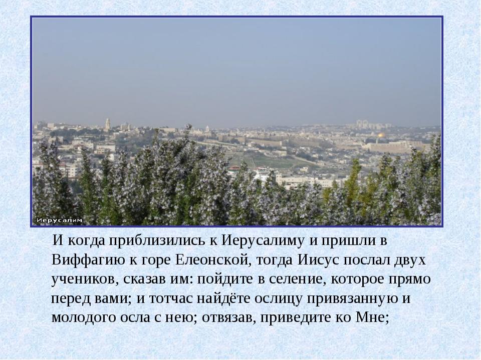 И когда приблизились к Иерусалиму и пришли в Виффагию к горе Елеонской, тогд...