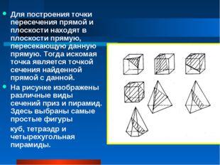 Для построения точки пересечения прямой и плоскости находят в плоскости пряму