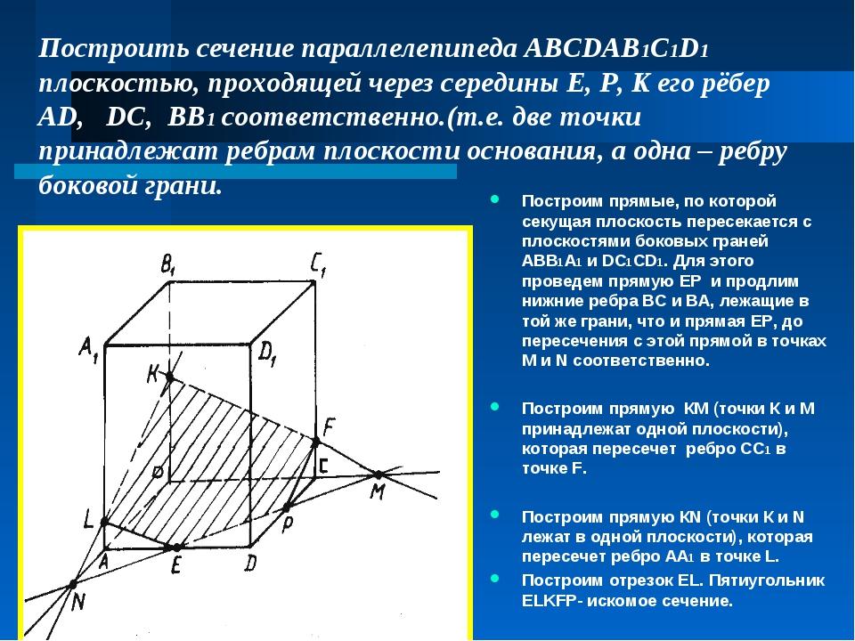 Построить сечение параллелепипеда ABCDAB1C1D1 плоскостью, проходящей через се...