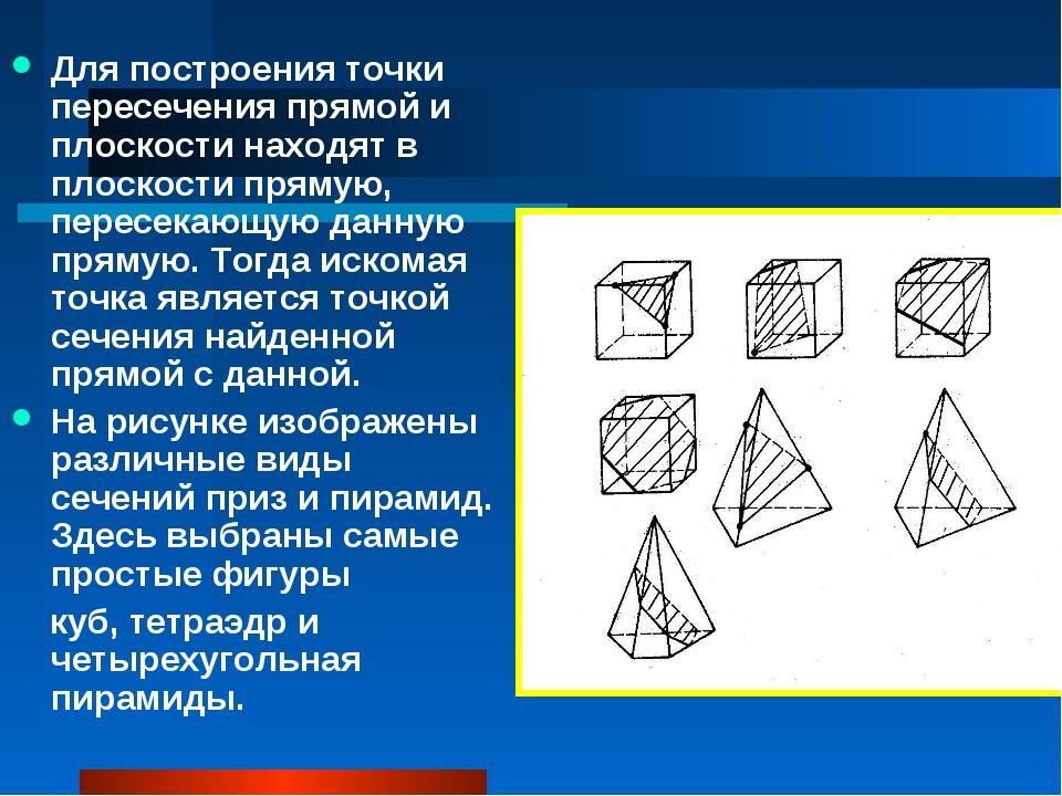 Для построения точки пересечения прямой и плоскости находят в плоскости пряму...