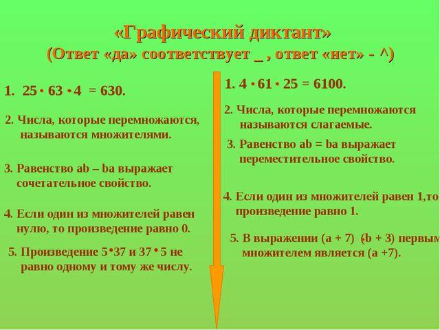 «Графический диктант» (Ответ «да» соответствует _ , ответ «нет» - ^) 1. 4 61...