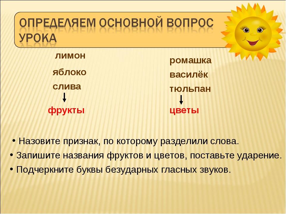 лимон ромашка василёк яблоко слива фрукты цветы Назовите признак, по котором...