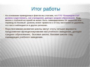 """Итог работы На основании приведенных фактов мы считаем, что ГУО """"Бокшицкая СШ"""
