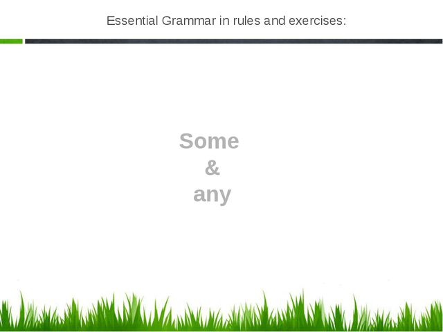 Essential Grammar in rules and exercises: Some & any