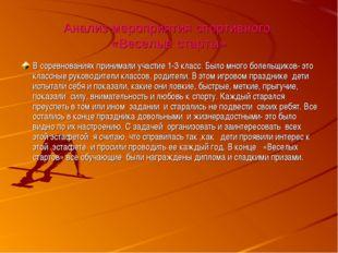 Анализ мероприятия спортивного «Веселые старты» В соревнованиях принимали уча