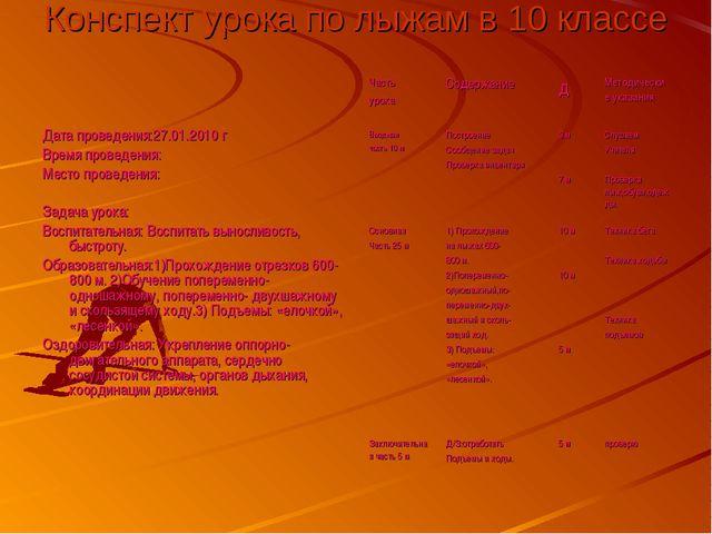 Конспект урока по лыжам в 10 классе Дата проведения:27.01.2010 г Время провед...