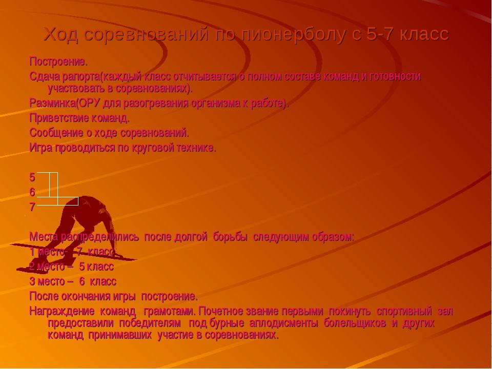 Ход соревнований по пионерболу с 5-7 класс Построение. Сдача рапорта(каждый к...