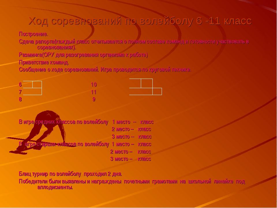 Ход соревнований по волейболу 6 -11 класс Построение. Сдача рапорта(каждый к...