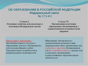 ОБ ОБРАЗОВАНИИ В РОССИЙСКОЙ ФЕДЕРАЦИИ Федеральный закон № 273-ФЗ Статья 2. Ос